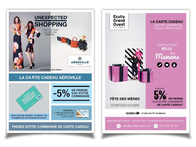 Chèque cadeaux carte cadeaux centre commercial
